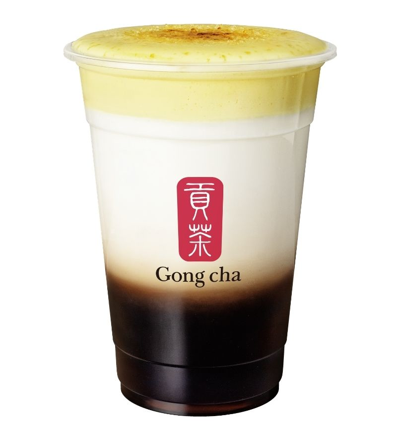 Gong cha CREME BRULEE MILK TEA CON HEART JELLY