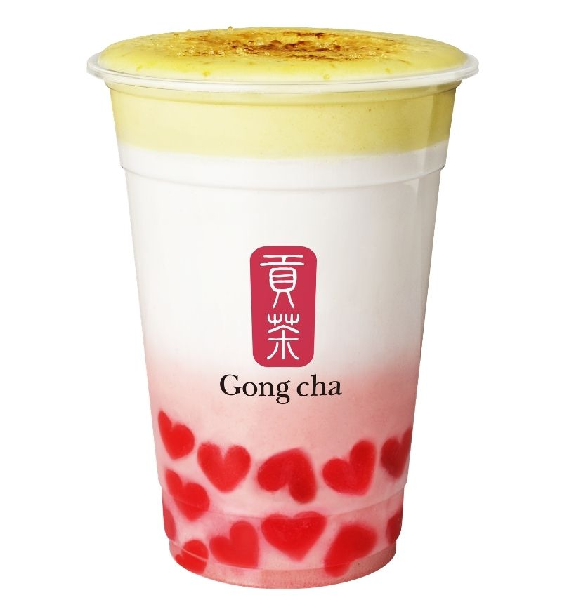 Gong Cha CREME BRULEE STRAWBERRY MILK TEA CON HEART JELLY